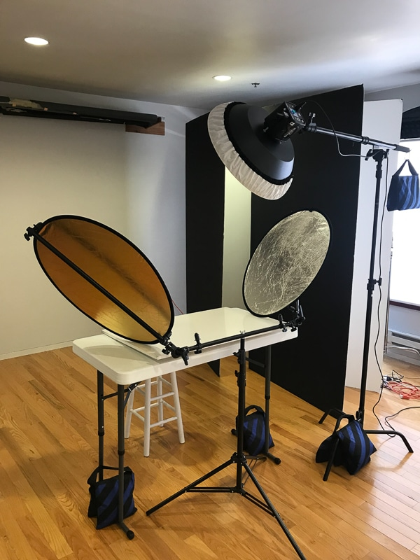 Ringlight Studios Tri-Flector with Beauty Dish Lighting Setup & White Backdrop